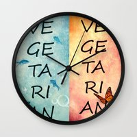 vegetarian Wall Clocks featuring Vegetarian by SensualPatterns