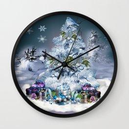 Snowy Blue Christmas Scene Wall Clock