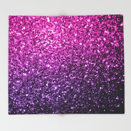 Purple Pink Ombre glitter sparkles Throw Blanket