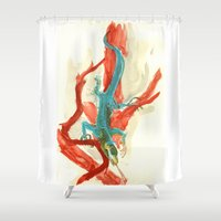 lizard Shower Curtains featuring Lizard by Meredith Nolan