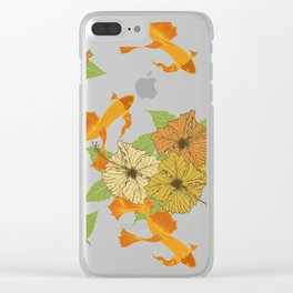 Night Time Goldfish Pond With Hibiscus Pattern Clear iPhone Case