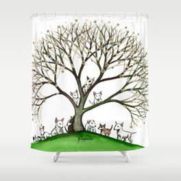 Bull Terriers Whimsical Dogs in Tree Shower Curtain