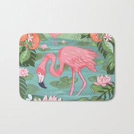 Flamingo and Waterlily Bath Mat