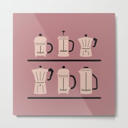 Volturno & French Press Coffee #6 dusty & vintage pink Metal Print