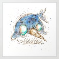 narwhal Art Prints featuring Narwhal by Morgan Ofsharick - meoillustration