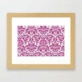 Elegant Damask Pattern (fuchsia) Framed Art Print
