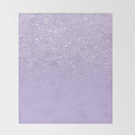 Stylish purple lavender glitter ombre color block Throw Blanket
