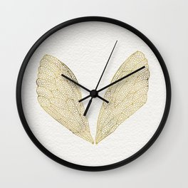 Cicada Wings in Gold Wall Clock