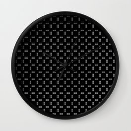 PEPPER minimalist black background white lines repeating grid pattern Wall Clock