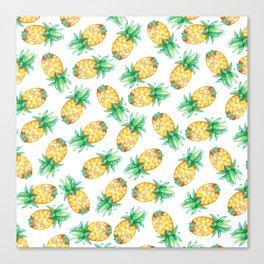 Tropical sunshine yellow green watercolor pineapple Canvas Print