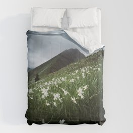 Mountain Golica and Narcissus flowers Comforters