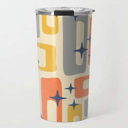 Retro Mid Century Modern Abstract Pattern 278 Yellow Orange Gray Travel Mug