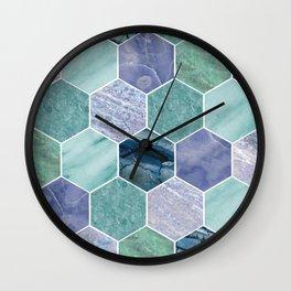 Mixed greens & blues - marble hexagons Wall Clock