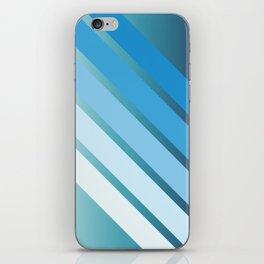 Blue Gradient Retro Stripes iPhone Skin