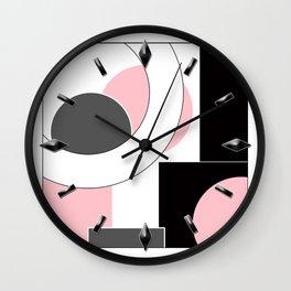 An abstract geometric pattern . Geometric shapes . Black pink white pattern . Wall Clock