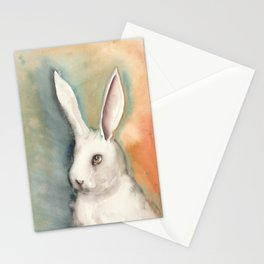 Portrait of a White Rabbit Stationery Cards