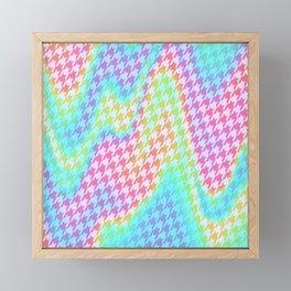 90s Rainbow Houndstooth Pattern Framed Mini Art Print