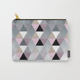 Geometric Prisme Pattern - Pink & Grey Carry-All Pouch