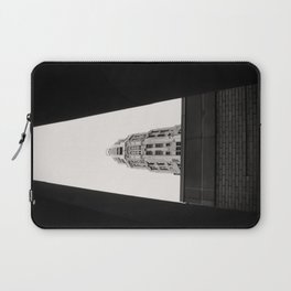 Mather Tower Building Top Chicago Black and White Photo Laptop Sleeve