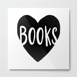 Heart Books - Hand lettered Book worm design  Metal Print