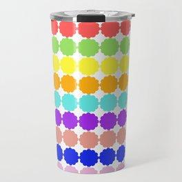 Stylized round multi-colored flowers (white background) Travel Mug