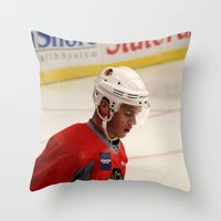 blackhawks Throw Pillows featuring jonathan toews // chicago blackhawks by Hattie Trott
