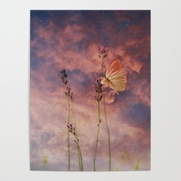 Butterfly and Blush Pink and Indigo Blue Sunset Poster