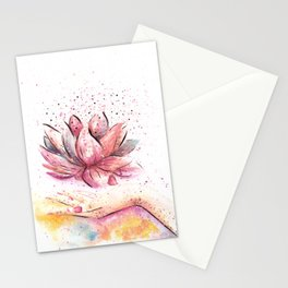 Lotus Flower Watercolor Art Stationery Cards