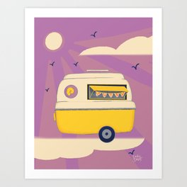 Food Stand Purple Print Art Print