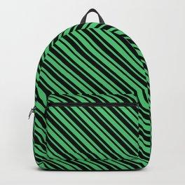 Emerald Green and Black Diagonal LTR Var Size Stripes Backpack