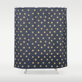 Gold Dots on Blue Shower Curtain