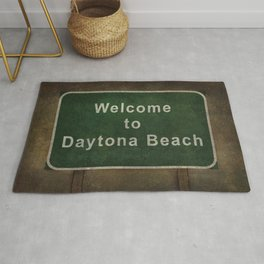 Welcome to Daytona Beach roadside sign illustration Rug