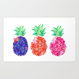Floral Pineapples Art Print