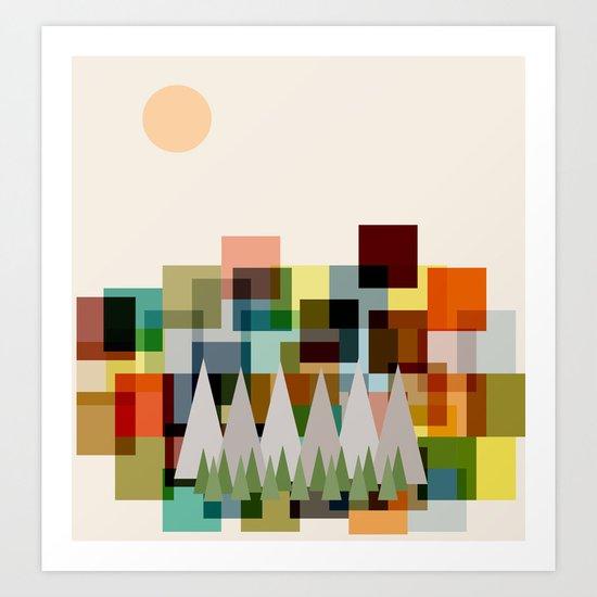 The Mountains at Sunrise Art Print