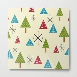 Mid Century Modern Christmas Trees Metal Print