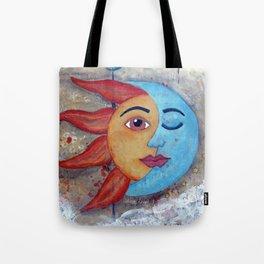 SOLUNA - Sun and Moon, mixed media art painting Tote Bag