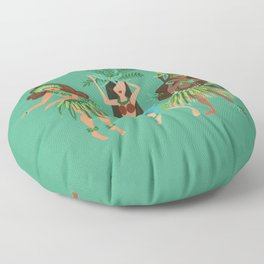 Luau Girls on Mint Floor Pillow