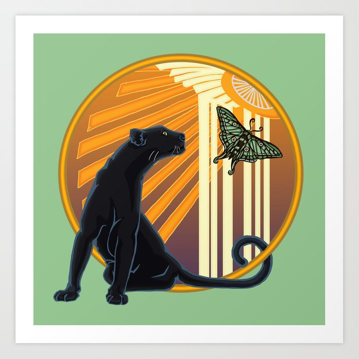Jaguar Plain Art Deco Kunstdrucke