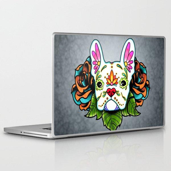 French Bulldog in White - Day of the Dead Sugar Skull Dog Laptop & iPad Skin