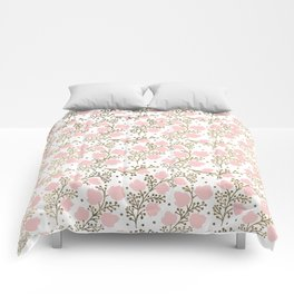 Girly blush pink faux gold elegant floral Comforters