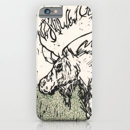 I See Leaves of Green Black White Green Moose Linocut Block Print Graphic Design iPhone Case