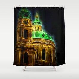 Fractal Prague Glow UV Shower Curtain