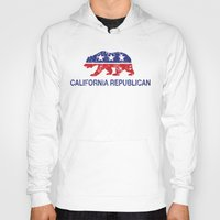 political Hoodies featuring California Political Republican Bear Distressed by Republican