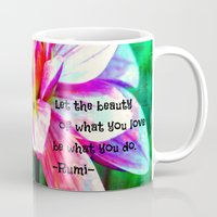 love quotes Mugs featuring Quotes-Rumi by haroulita