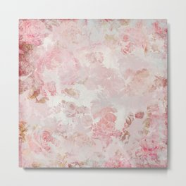 Vintage Floral Rose Roses painterly pattern in pink Metal Print