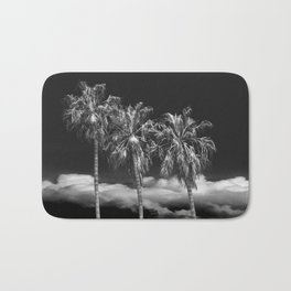 Palm Trees in Black and White on Cabrillo Beach Bath Mat