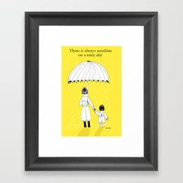 Mother and Daughter in the rain Framed Art Print