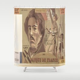 100 Old French Franc note bill Shower Curtain