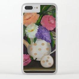 Polka Dot Teapot Clear iPhone Case