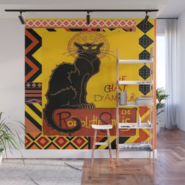 Le Chat Noir D'Amour With Ethnic Border Wall Mural